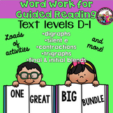 Guided Reading Word Work BUNDLE  for Kids Reading on Levels D-I