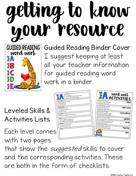 Word Work Activities for Guided Reading - Levels A to E