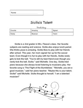 Guided Reading Worksheet, Musical Talent
