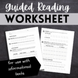 Guided Reading Worksheet for Comprehension