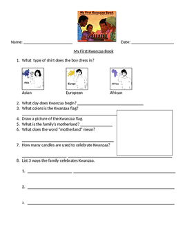 """Guided Reading Worksheet for """"My First Kwanzaa Book"""""""