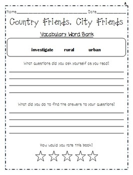Guided Reading Worksheets, Unit 1, Reading Street, Grade 2, 2011 & 2013 Series