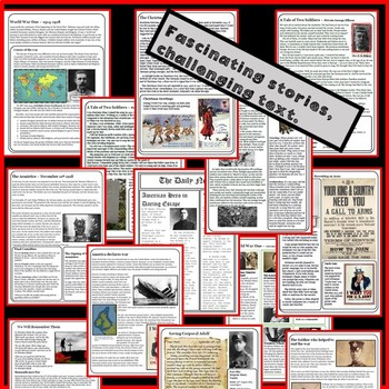 World War One - THE FULL COLLECTION. Reading Comprehension Package
