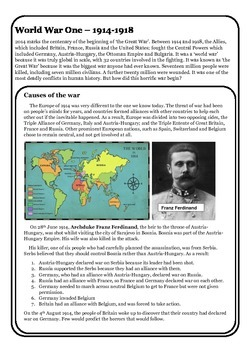 Guided Reading: World War One - The causes of war