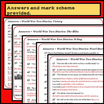 Close Reading: Comprehensions - World War Two Diaries