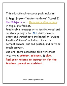 """Guided Reading Worksheets - """"Yucky the Germ""""  Level E - Speech or Language"""