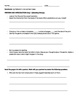 Guided Reading activity for Bunnicula by James Howe GRL Level Q