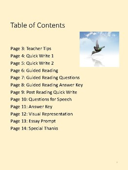Guided Reading and Activities for Urrea Speech on Life (Nonfiction)