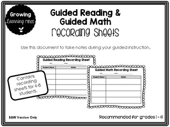 Guided Reading and Guided Math Recording Sheets