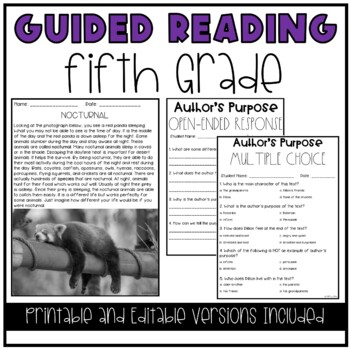 Guided Reading and Literacy Centers Bundle (5th Grade)