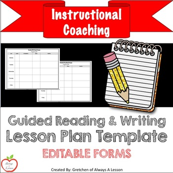Guided Reading and Writing Lesson Plans Template