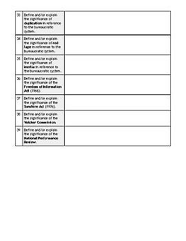 Guided Reading for AMSCO AP US Government - Chapter 11: Bureaucracy