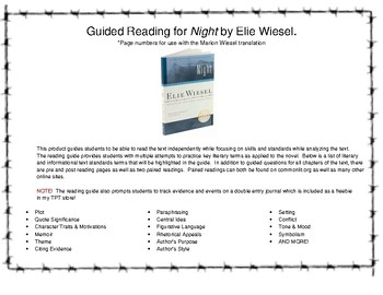 Guided Reading for Night by Elie Wiesel