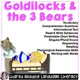 Shared Reading Activities Goldilocks and 3 Bears Speech Th
