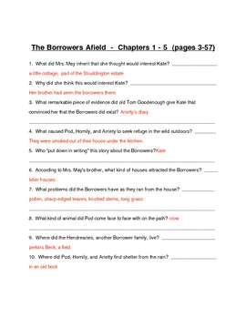 Guided Reading  for novel Borrowers Afield