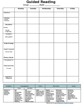 Guided Reading lesson Planner