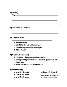 Guided Reading lesson plans (any level)
