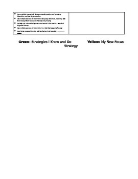 Guided Reading level L-N student strategy sheet