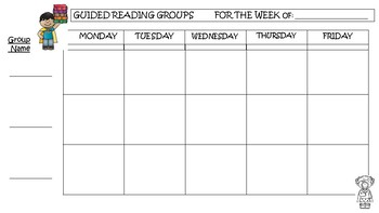 Guided Reading or Small Group Template Planner Simple Calendar