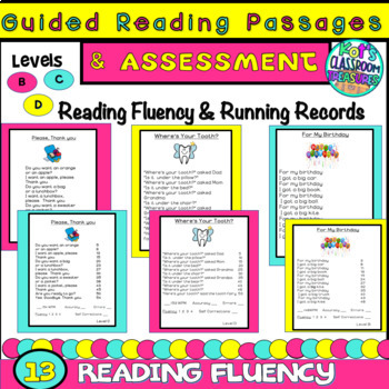 Guided Reading Passages for Levels B,C,D with Assessments