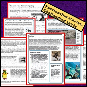 Guided Reading plus other activities: Loch Ness Monster & Bigfoot