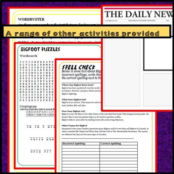 Reading comprehensions plus other activities: Loch Ness Monster & Bigfoot