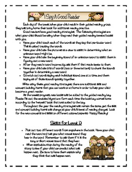 Guided Reading skill and concept letters for home practice