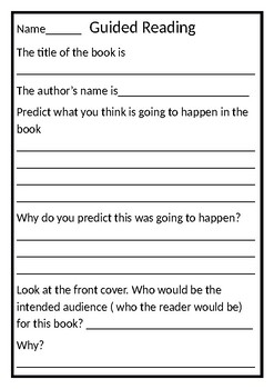 Guided Reading worksheet generic
