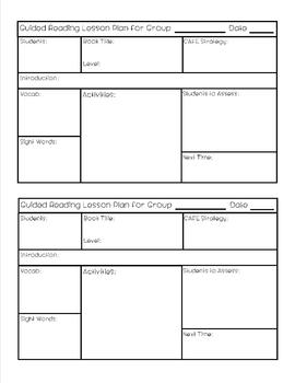 Guided ReadingCAFE Lesson Plan Template By Becca Stitch TpT - Guided reading lesson plan template