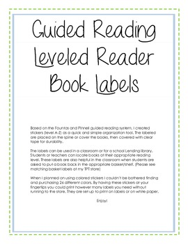 Guided Reading/Leveled Reading Book Labels