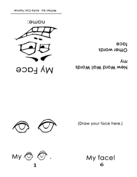 """Guided Reading/Take Home Printable book#2 """"My Face"""" page 1"""