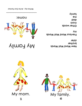 """Guided Reading/Take Homebook #3 """"My Family"""" page 1"""