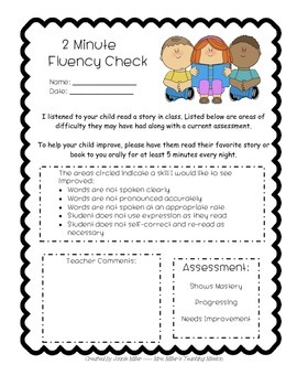 Guided Reading 2 Minute Fluency Check Aligned with Common Core