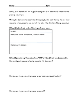 Character Education or Misbehavior Guided Reflection Worksheet: Respect