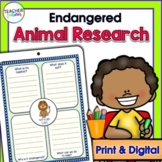 ENDANGERED ANIMAL REPORTS Research Project Templates plus BOOM CARDS