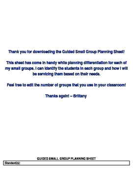 Guided Small Group Planning Sheet