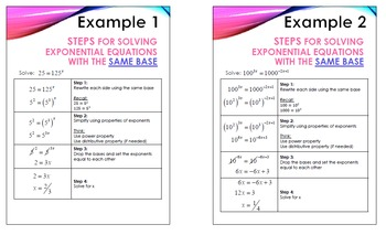 Guided Steps - Exponential Functions-  Solving Exp Fxns with Common Base