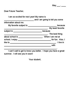 Guided Student Letter to Future Teacher