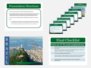 6 Countries of South America: Research Presentation Templates with Sources Links