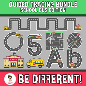 Guided Tracing Bundle Clipart - School Bus Edition