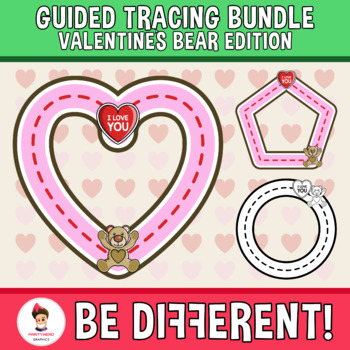 Guided Tracing Bundle Clipart - Valentine´s Bear Edition