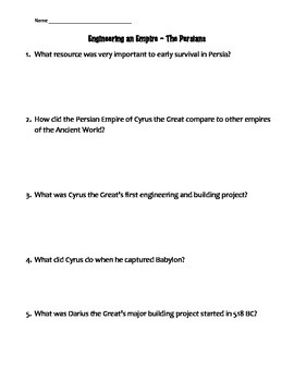 "Guided Video Questions for ""Engineering an Empire - Persians"""
