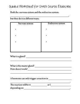 Guided Worksheet for Crash Course Endocrine