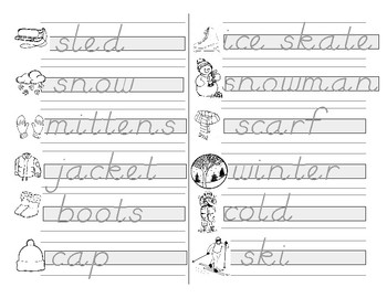 Guided Writing Practice -  D'Nealian - Winter Words