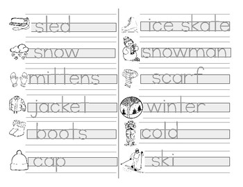 Montessori - Guided Writing Practice - Print - Winter Words
