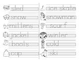 Montessori - Guided Writing Practice - Print - Winter Words