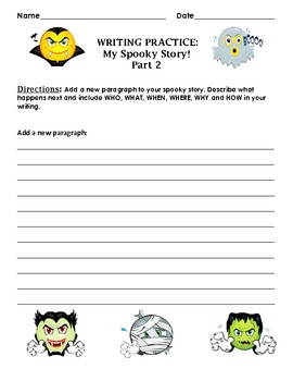 Guided Writing for Halloween: My Spooky Story