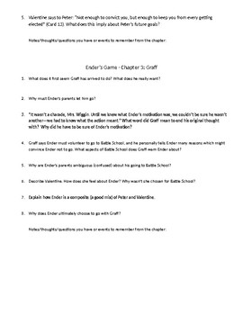 Guided and critical thinking questions for Ender's Game Chapters 1-3