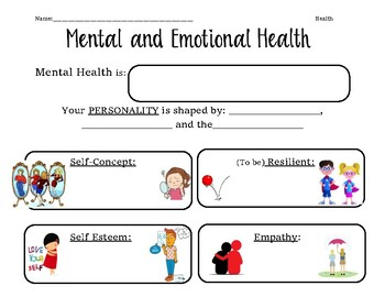 Guided introduction worksheet for Mental Health