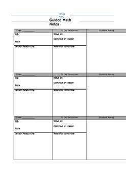 Guided math group notes